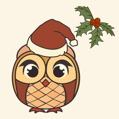 Owl with Santa's cap. Christmas and New Year's owl simple minimal design. Owl with a Santa Claus hat image on cartoon style. Fat amusing owlet Greeting Christmas card image. Owl with expressive eyes.