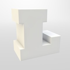 3d rendering. White letters on a light background. Capital letter.