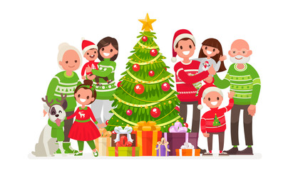Big happy family and Christmas tree with gifts. Vector illustration