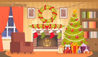 Christmas interior of the living room with a Christmas tree, gifts and a fireplace. Vector illustration