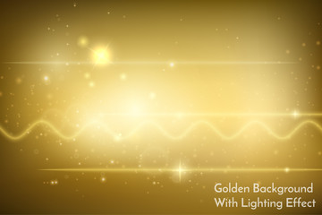 A beautiful golden background with collection of lighting effects and bokeh. Gold stars, shiny cosmic illustration, bright backdrop template for design. Vector, eps10