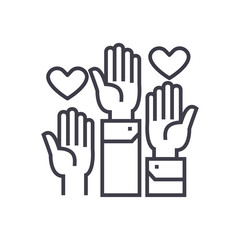 volunteer hands line icon, sign, symbol, vector on isolated background