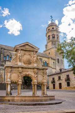 View at the fountain of Santa Maria with Cathedral of Baeza - Spain
