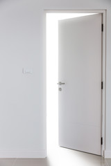 door of faith and believe to heaven concept in house with white room with door and nature light