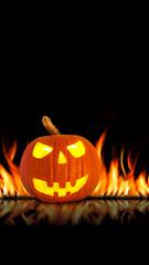 Halloween Kürbis mit Feuer