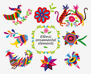 Mexican colorful and ornate ethnic vector set. Elements of embroidery with birds, cats, fishes  and flowers on the light background.