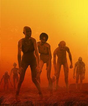 Zombie Crowd Attack Concept