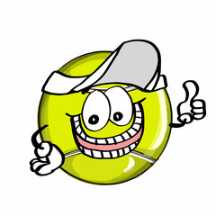 cute tennis ball hand and hat