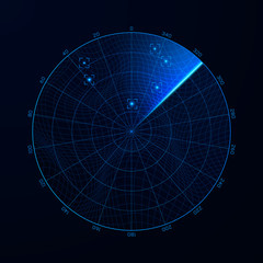 Radar in searching. Military search system blip illustration. Target on blip. Blue navigation interface. Vector
