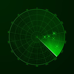Radar. Blip. Detection of objects on the radar. Vector illustration