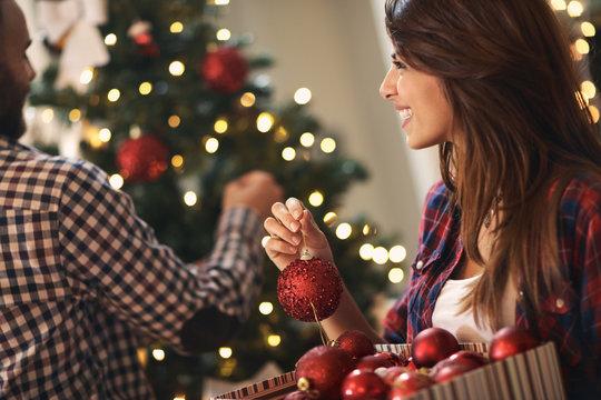 Woman at Christmas decorating home