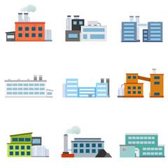 Set of factories. Industrial building factory. Collection of industry manufactory building. Vector illustration.