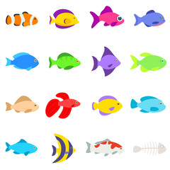 Set of different fishes. Collection of aquarium and tropical fish. Isolated vector illustration.
