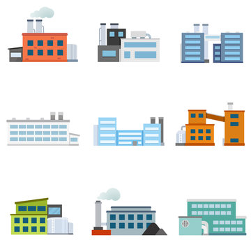 Set of factories. Industrial building factory. Collection of industry manufactory building. Vector illustration.