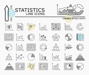 Statistics line icons with minimal nodes and editable stroke width and style