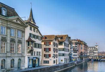 Embankment of Limmat river in Zurich, Switzerland