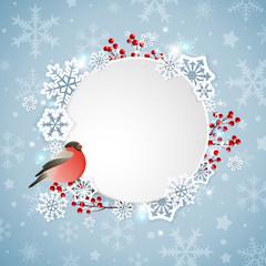 Bullfinch and white snowflakes