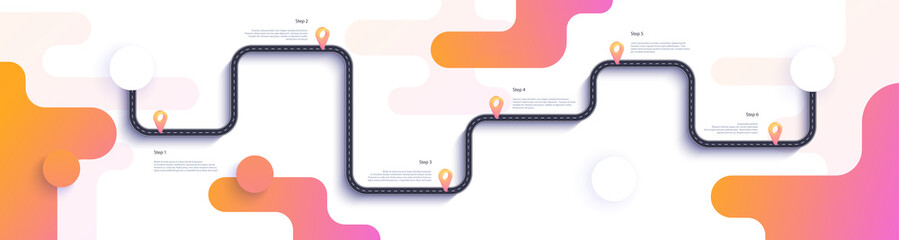 Road map and journey route infographics template. Winding road timeline illustration. Flat vector illustration. Eps 10 Fototapete