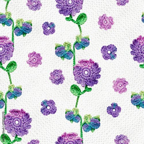 Seamless Pattern With Crochet Flowers And Leaves Multicolor
