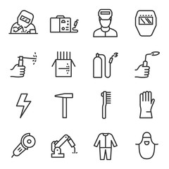 Welding a set of icons in a linear style. Tools and work with welding equipment. Line with editable stroke