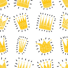 Gold crowns. Vector seamless pattern.