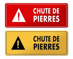 Falling Stones Alert warning panels in French translation