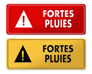 Heavy Rain Alert warning panels in French translation