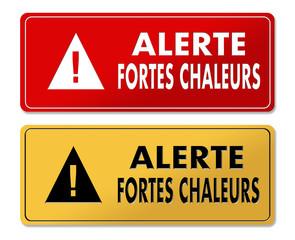High Heat Alert warning panels in French translation