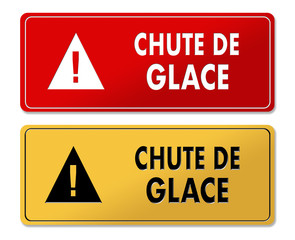 Ice Fall Alert warning panels in French translation