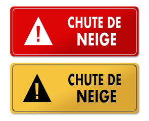 Snowfall Alert warning panels in French translation