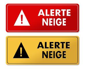 Snowfall Alert warning panels in French translation