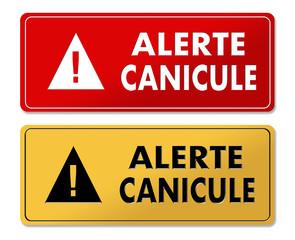 Summer Heat Alert warning panels in French translation