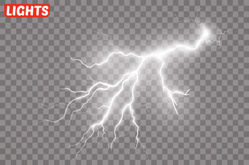Lightning flash light thunder spark on transparent background.