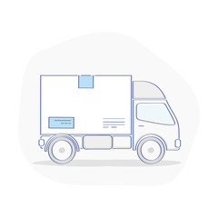 Truck, Transportation Service icon concept. Delivery Van carries a Package. Flat outline vector illustration on white background. Modern design element.