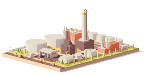 Vector low poly oil refinery plant