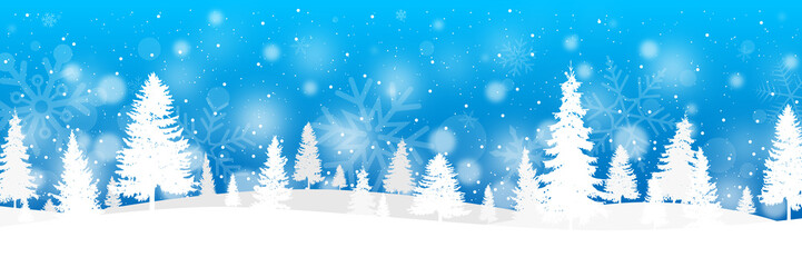 Winter banner with fir trees and snow