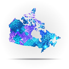 Vector map Canada with snowflakes. Winter illustration for your design.