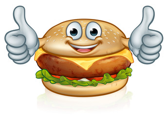 Burger Food Mascot Cartoon Character