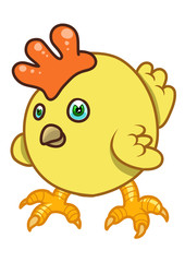 A round yellow cartoon hen. Vector illustration