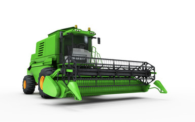 3D illustration. Green combine harvester isolated on a white background. Front side view