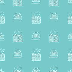 Hand drawn Merry Christmas and Happy New Year doodle seamless pattern
