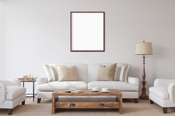 White isolated poster with black frame mockup