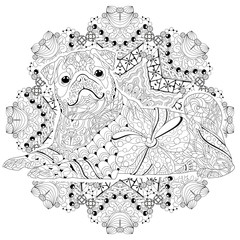 Mandala with dog for coloring. Vector decorative zentangle object