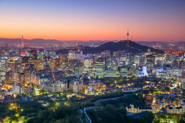 Seoul. Cityscape image of Seoul downtown during summer sunrise.