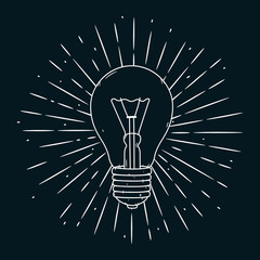 Hand drawn vector illustration with Light bulb on blackboard. Used for poster, banner, t-shirt print, bag print, badges and logo design.