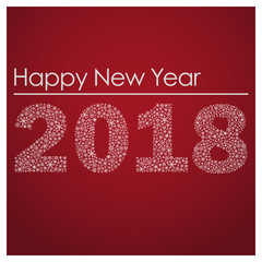 red happy new year 2018 from little snowflakes eps10