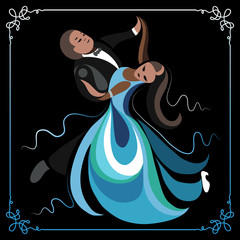 Illustration of a couple dancing the waltz 2
