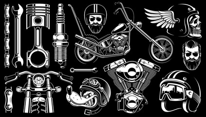 Motorcycle clipart with 14 elements on dark background (raster version)