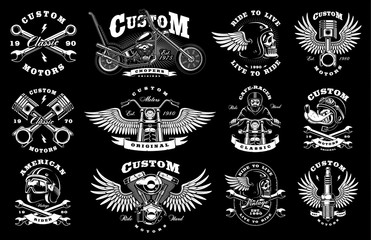 Set with 12 vintage biker illustrations on dark background (raster version)