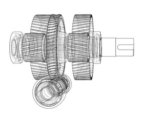 Gearbox sketch. Vector